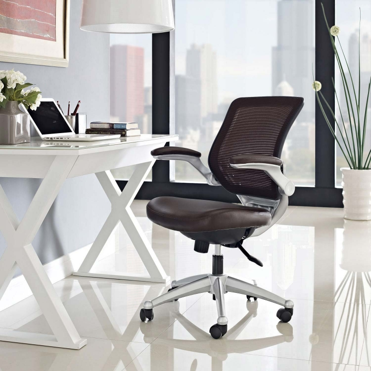 Edge Leather Office Chair - Brown