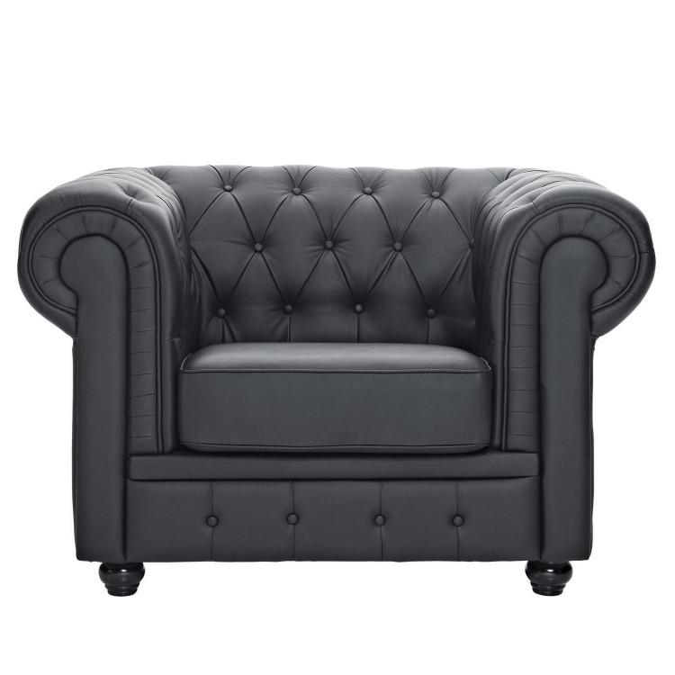 Chesterfield Leather Arm Chair - Black