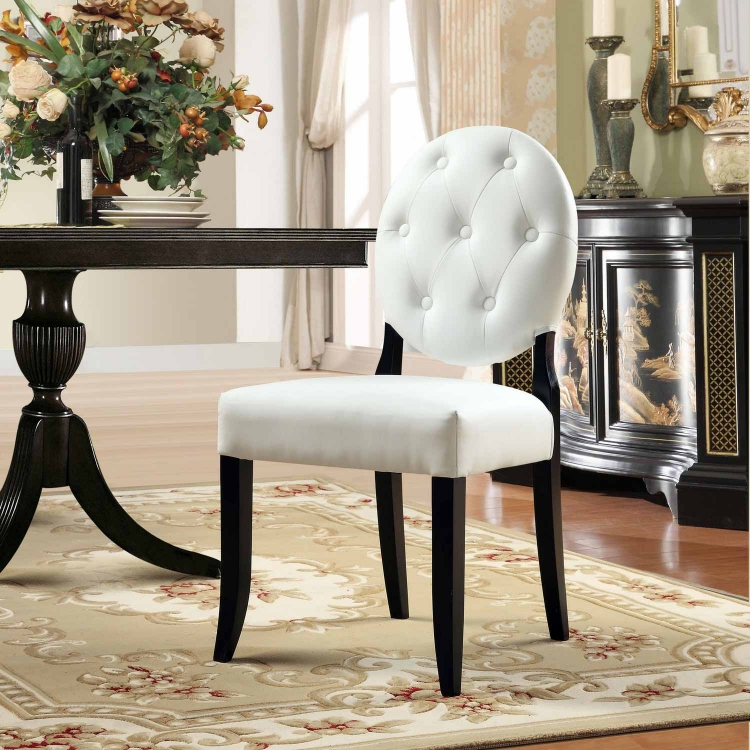Button Dining Side Chair - White