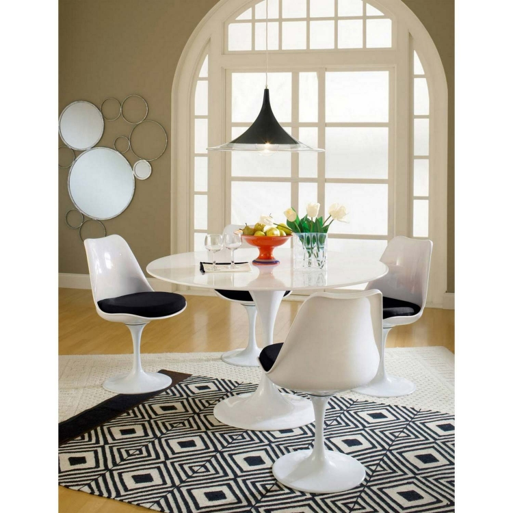 Lippa 5 Piece Fiberglass Dining Set - Black