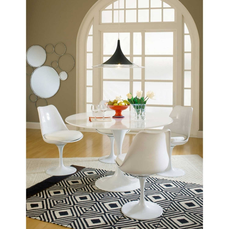 Lippa 5 Piece Fiberglass Dining Set - White