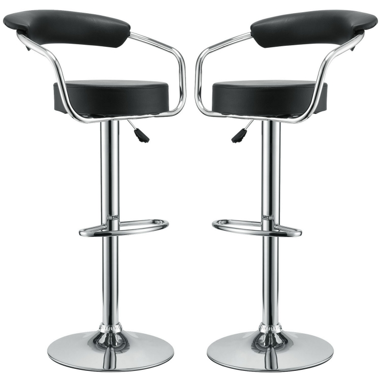 Diner Bar Stool Set of 2 - Black