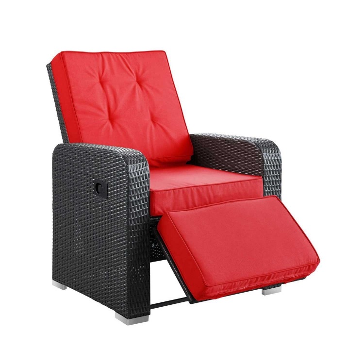Commence Patio Outdoor Patio Arm Chair Recliner - Espresso Red