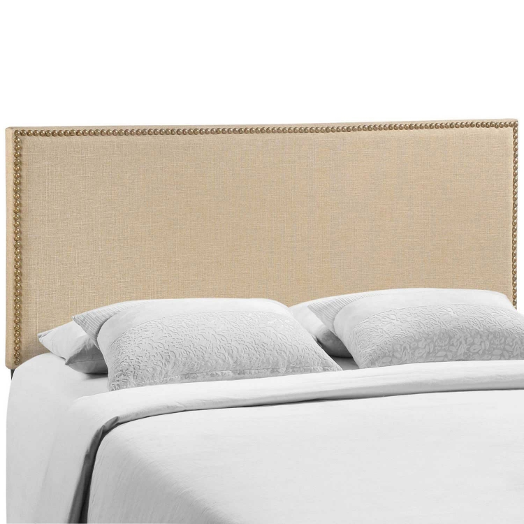 Region Queen Nailhead Upholstered Headboard - Cafe