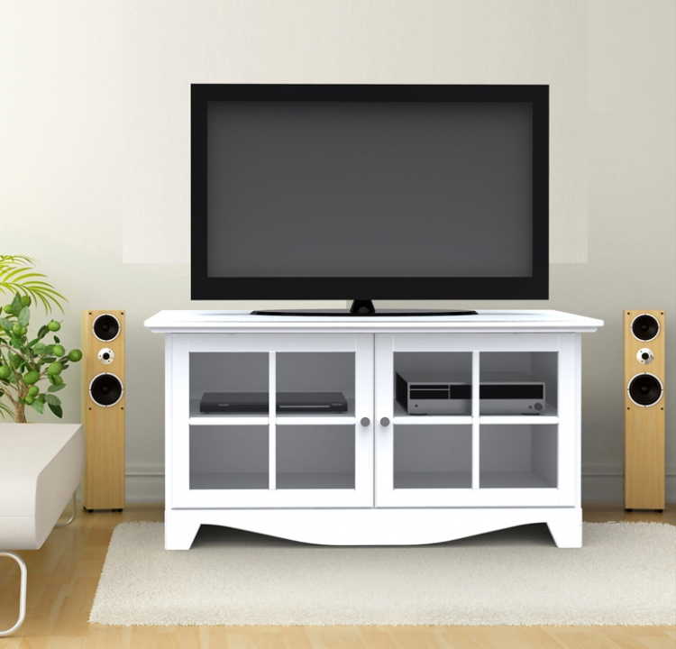 Pinnacle 49 Inch TV Console with Door - White - Nexera