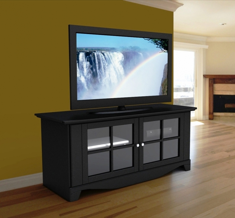 Pinnacle 56 Inch TV Console with Door - Black