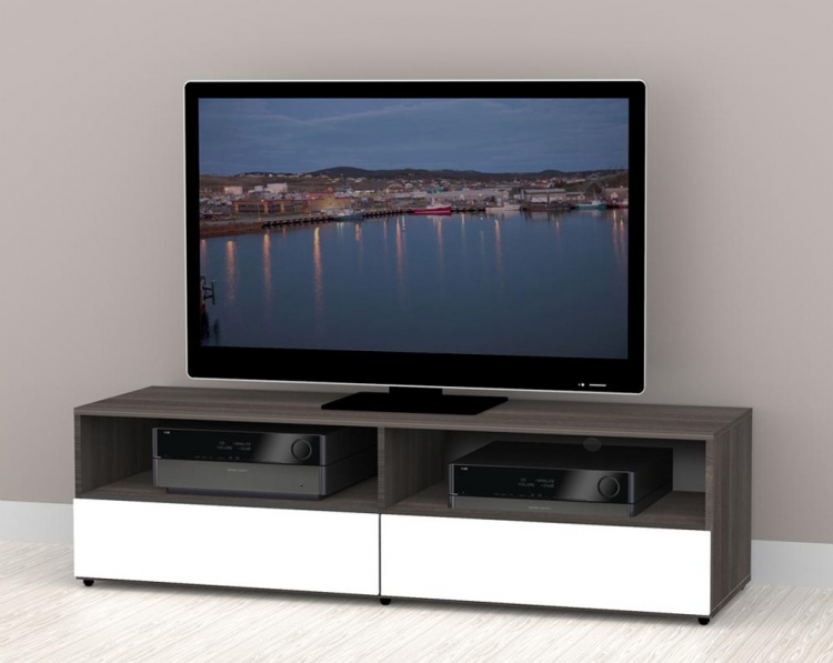 Allure 60 inch TV Stand - 2 Open Shelves, 2 Drawers - Nexera