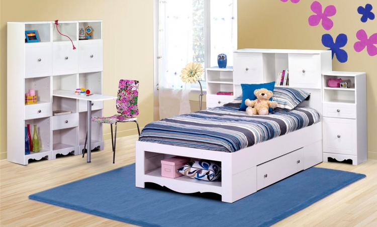 Pixel Youth Twin Low Bookcase Storage Bedroom Collection - Nexera
