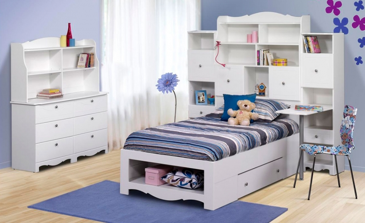 Pixel Youth Twin Tall Bookcase Storage Bedroom Collection - Nexera