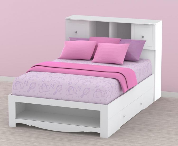 Pixel Youth Full Size Low Bookcase Storage Bed - Nexera