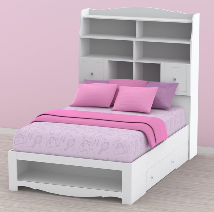 Pixel Youth Full Size Tall Bookcase Storage Bed