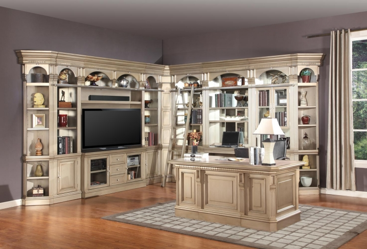 Allure Full Wall Library Bookcase Set 3