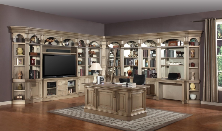 Allure Full Wall Library Bookcase Set 4