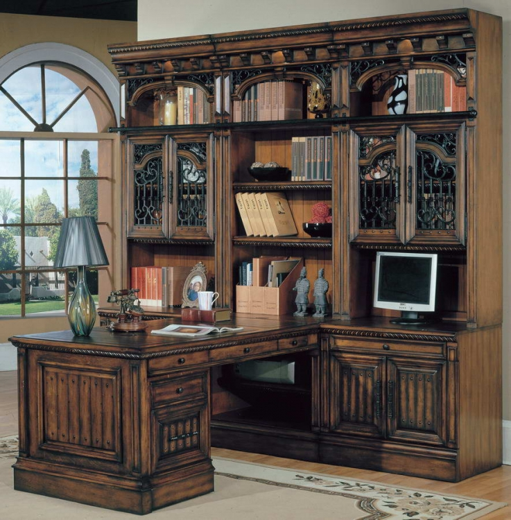 Barcelona Home Office Suite 8pc Peninsula Group with File Cabinet - Parker House