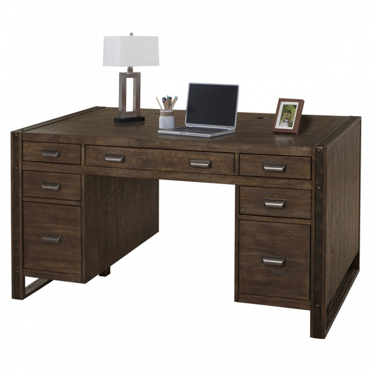 Brooklyn 60-inch Pedestal Desk - Antique Burnished Pine