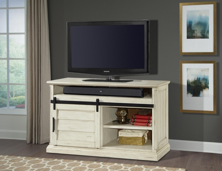 Chesapeake 55-inch TV Console with Sliding Door - Vintage Burnished Rustic White
