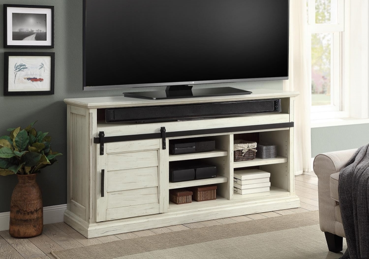 Chesapeake 67-inch TV Console with Sliding Door and Drawers - Vintage Burnished Rustic White