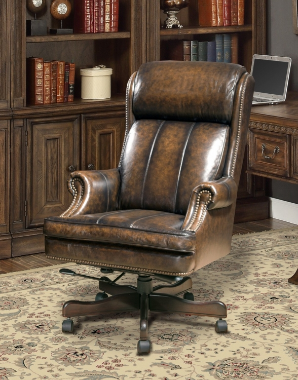 Prestige DC-105-BB Leather Desk Chair - Black/Brown