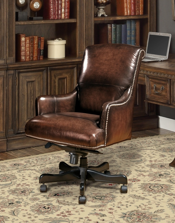 Prestige DC-106-BR Leather Desk Chair - Brown Wipe