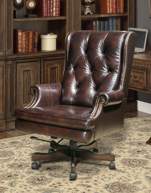 Prestige DC-112-HA Leather Desk Chair - Havana