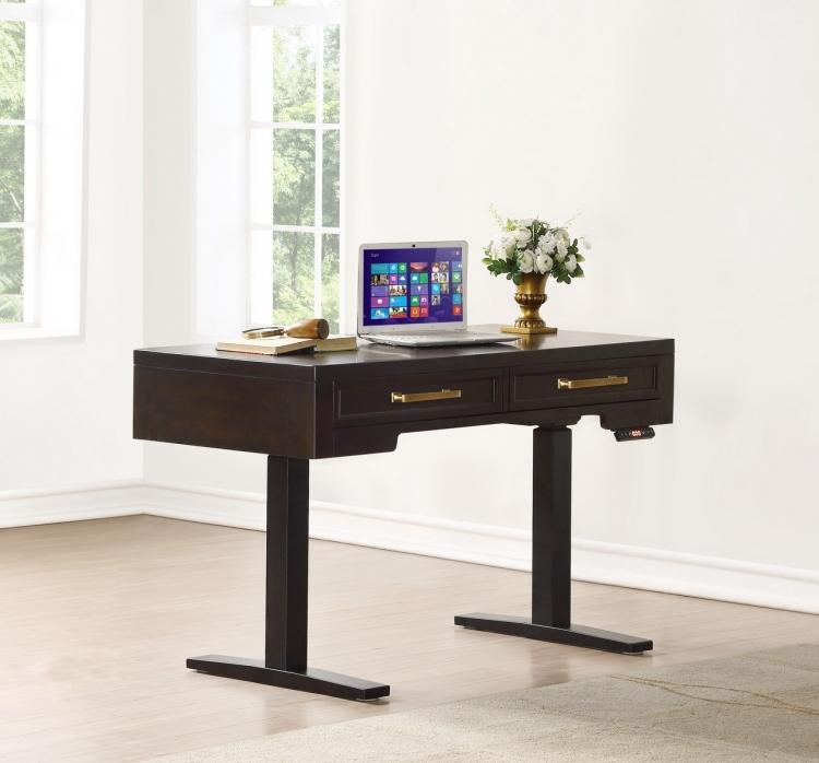 Greenwich 48-inch Power Lift Desk - Dark Walnut