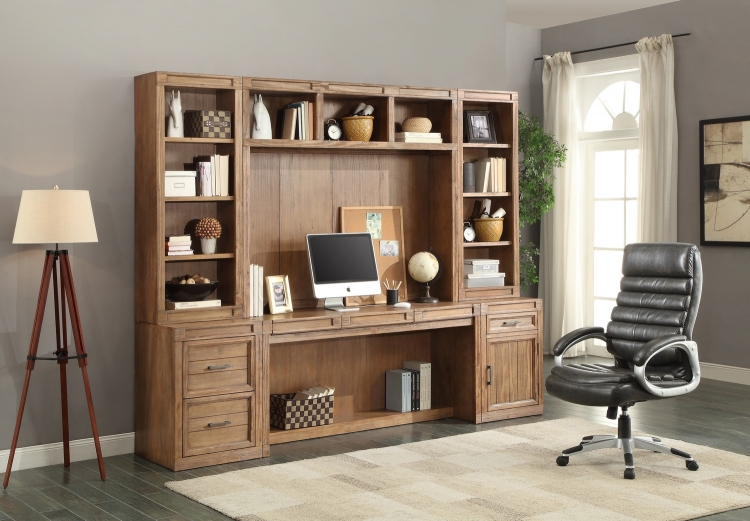 Hickory Creek Desk Set with Bookcase Hutch and Storage