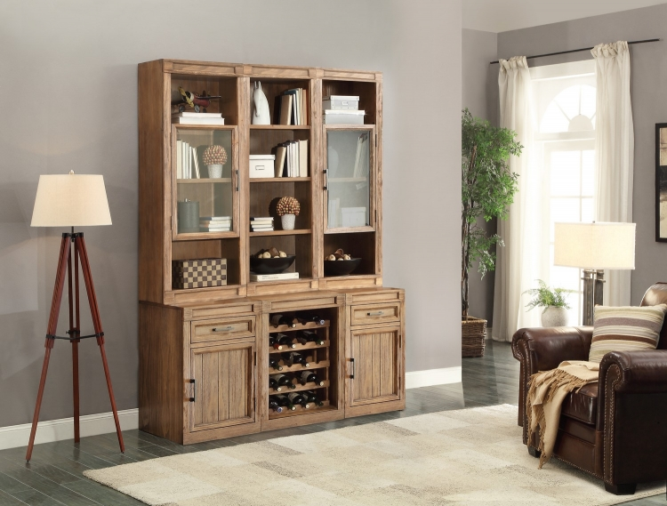 Hickory Creek Bookcase Cabinet with Wine Storage