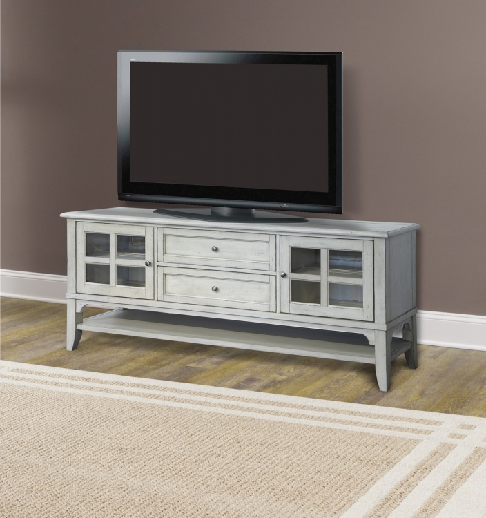 Hilton 76-inch TV Console - Antique Vintage Storm