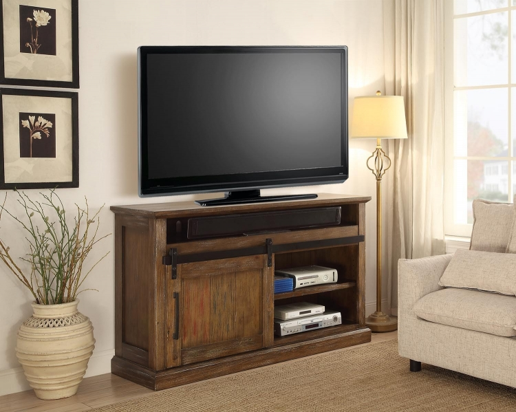 Hunts Point 55-inch TV Console with Sliding Door - Vintage Weathered Pine