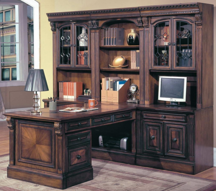 Huntington Home Office Suite 8pc Peninsula Group with File Cabinet - Parker House