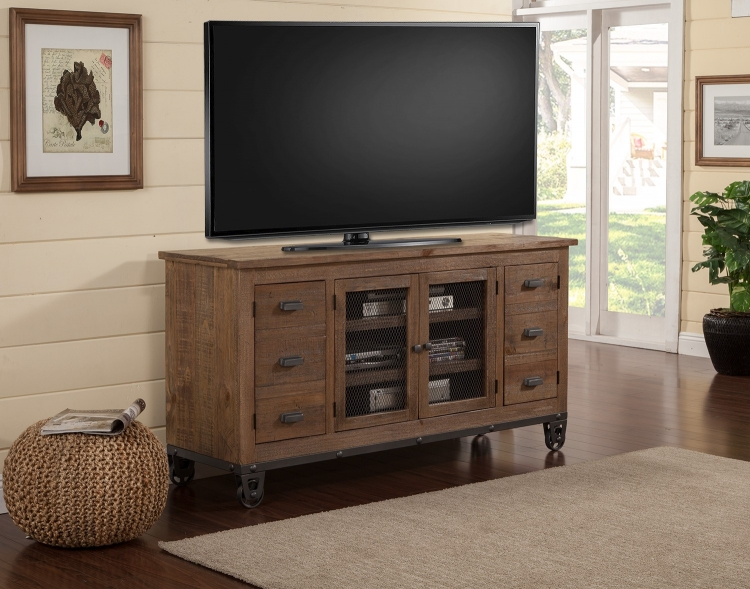 LaPaz 63-inch Console with wheels - Rustic Worn Pine