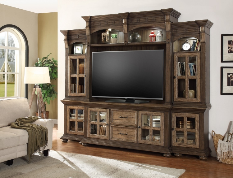 Laredo 4-Pc Entertainment Wall - Vintage Hickory