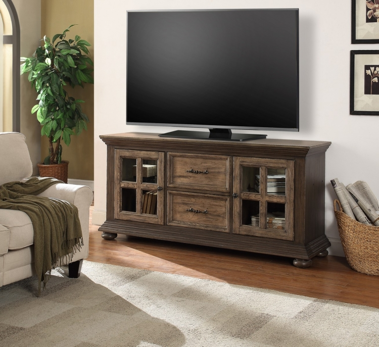 Laredo 68-inch TV Console with LED Lights - Vintage Hickory