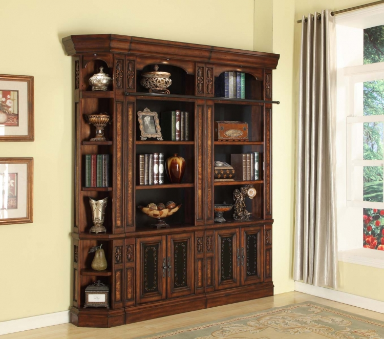 Leonardo Library Wall Unit Bookcase Set 5