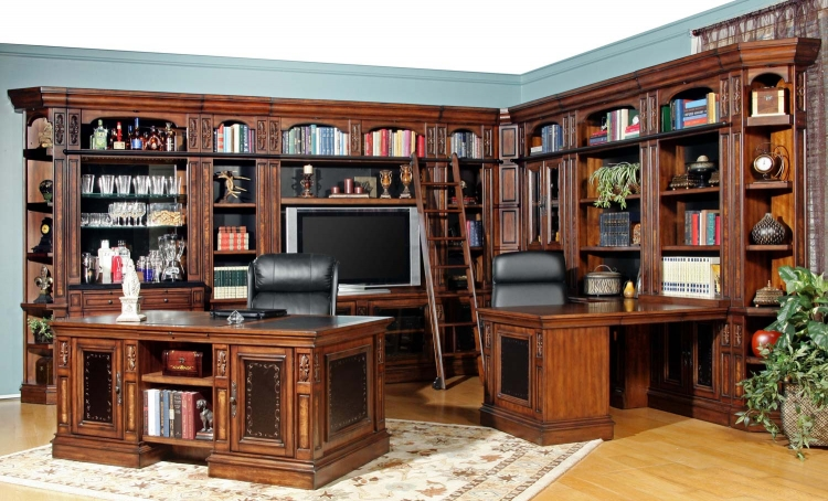 Leonardo Library Wall Unit Bookcase Set 2
