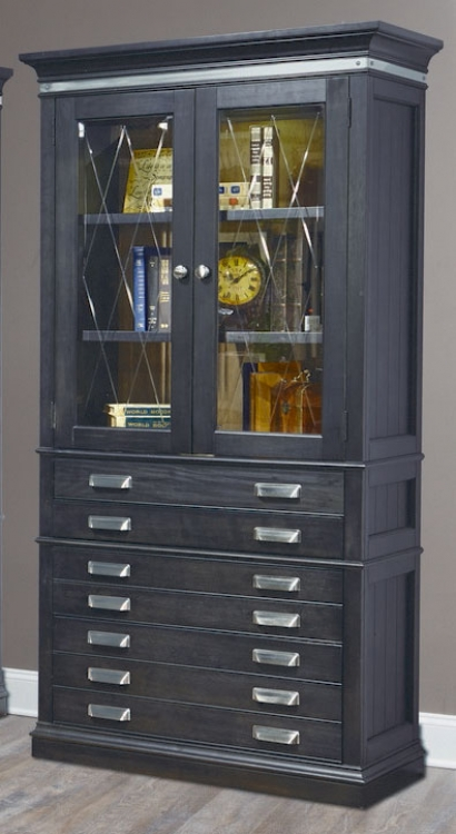 Lincoln Park 40-inch Glass Door Bookcase - Vintage Ash