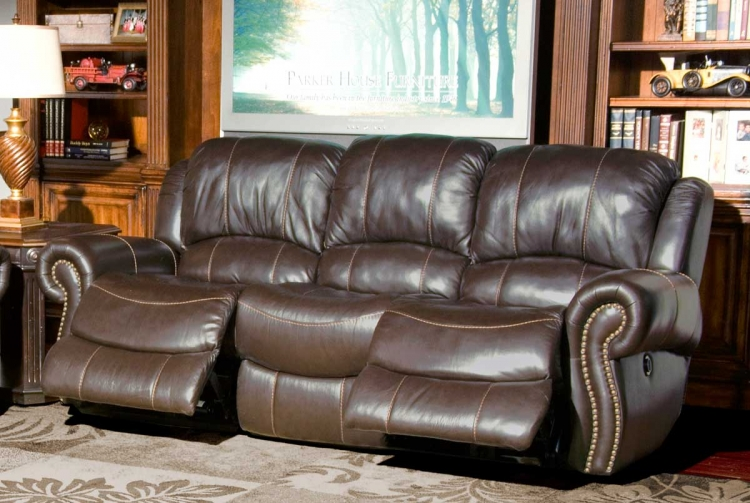 Adonis Power Sofa with Dual Recliner - Chocolate - Parker Living