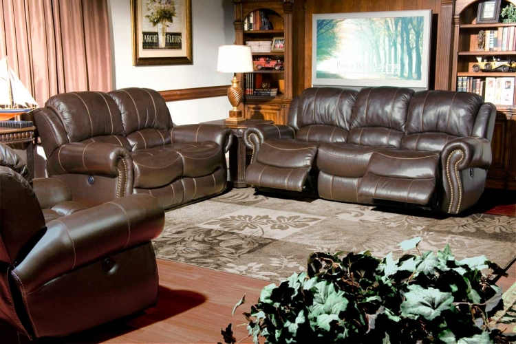 Adonis Power Reclining Sofa Set - Chocolate - Parker Living
