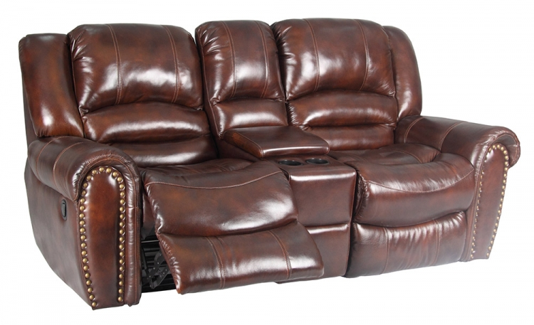 Neptune Glider Loveseat With Console - Tobacco - Parker Living