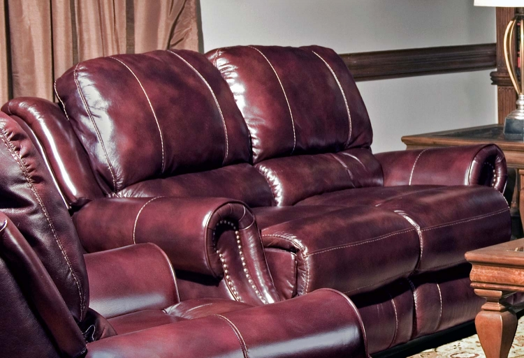 Zeus Dual Reclining Power Loveseat - Merlot - Parker Living