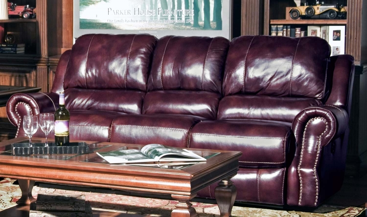 Zeus Dual Reclining Power Sofa - Merlot - Parker Living