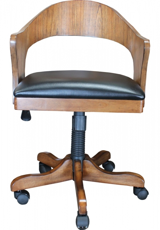 Madison Desk Chair with Fabric Seat - Wood Back