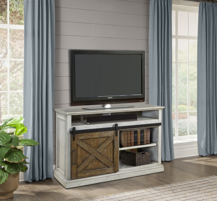 Savannah 55-inch TV Console with Sliding Doors - Vintage Parchment