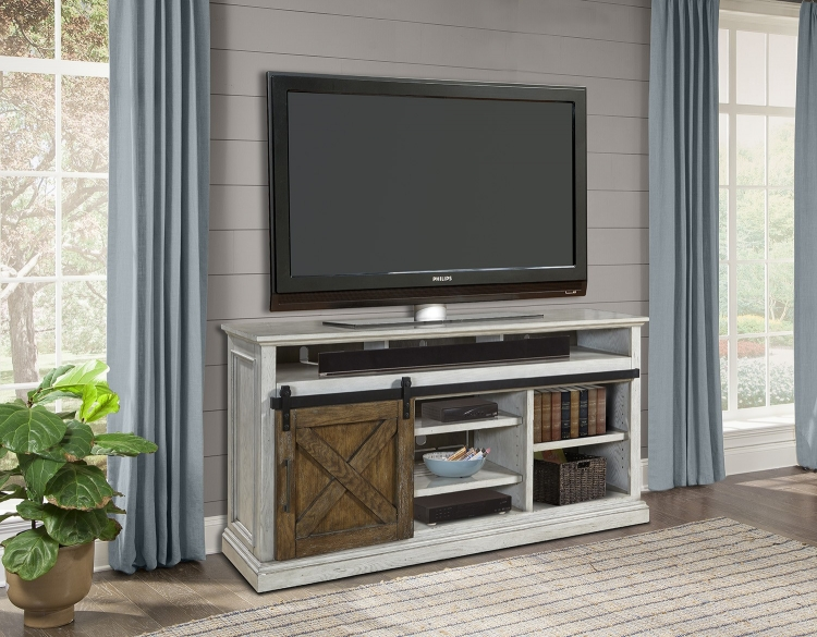 Savannah 67-inch TV Console with Sliding Doors - Vintage Parchment