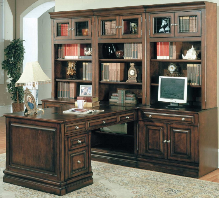 Sterling Home Office Suite 8pc Peninsula Group with File Cabinet - Parker House