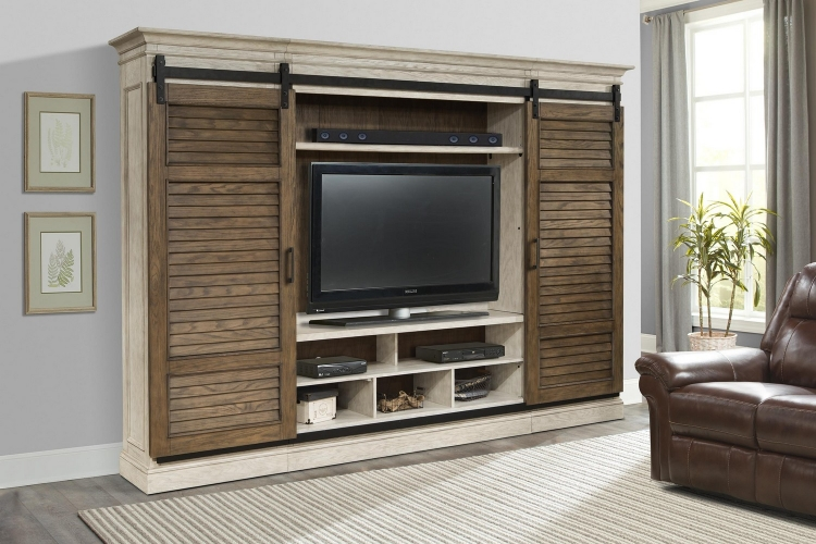 Savannah Sliding Shutter Door Entertainment Wall Set