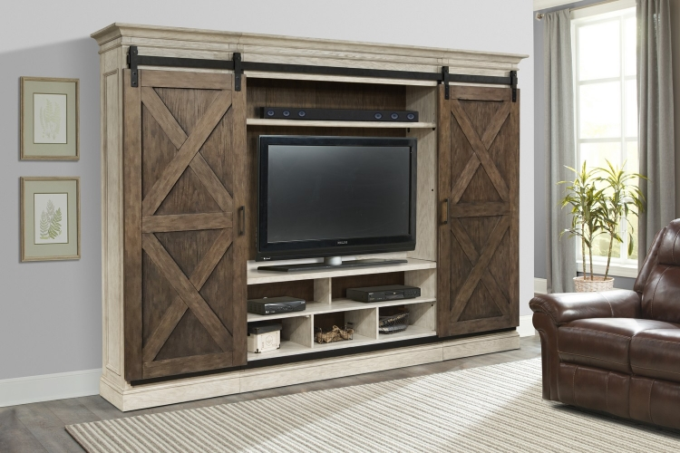Savannah Sliding X Barn Door Entertainment Wall Set