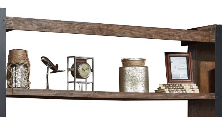 Tribeca Bridge and Shelf with LED Light - Weathered Pine