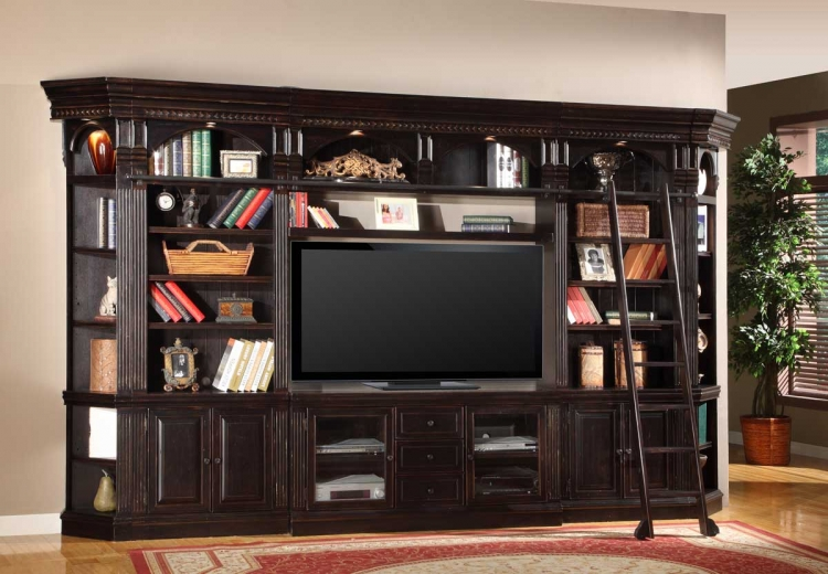 Black Entertainment Center Wall Unit parker house home entertainment - entertainment center, tv stands