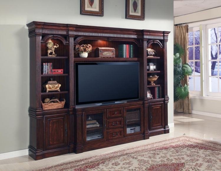Wellington 4pc Estate Wall Entertainment Center - Parker House